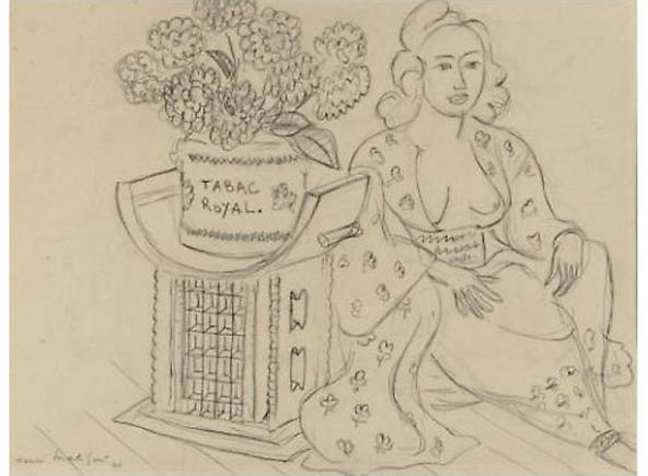 Henri Matisse Le Tabac Royali, 1940 Pencil drawing 13 x 17.25 inches (33 x 44 cm)