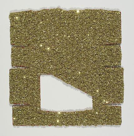 Tony Feher China 2 2007 Glitter, Sobo glue, and spray paint on unfolded box 7.5 x 7.5 inches (19.1 x 19.1 cm)