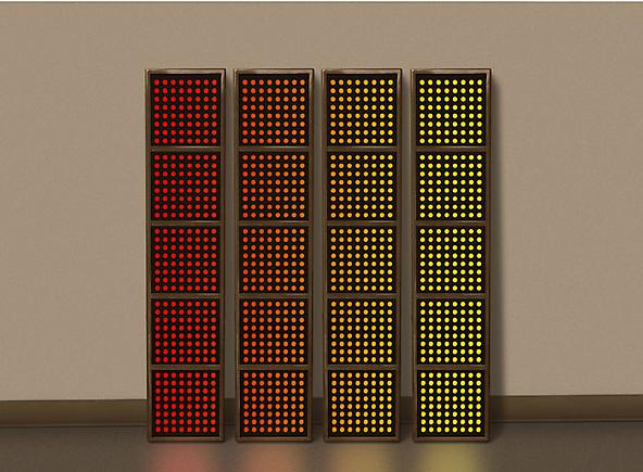Erwin Redl Four Panels 2010 Computer-controlled LED installation, acrylic, stainless steel frame 55 x 10 3/4 inches (139.7 x 27.3 cm) each panel