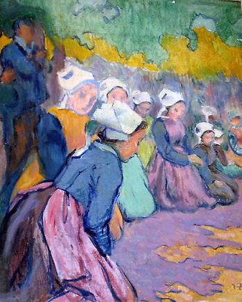 Breton Girls at Prayer oil on paper laid on board 17 7/16 x 14 5/8 inches (44.3 x 37.1 cm)