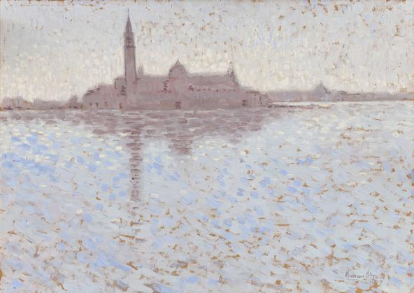 Hermann Struck  View of San Giorgio Maggiore, Venice, 1907 Oil on board 19 by 13.5 inches (48.3 by 34.3 cm) Framed: 28 x 22 1/2 inches