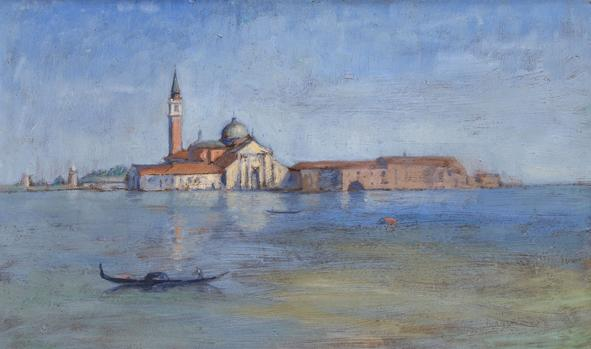 Hermann Struck  Venice Oil on board 18.9 by 11.02 inches (48 by 28 cm) Framed: 22 1/2 x 14 3/4 inches (Inv# HS3095)