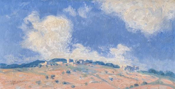 Hermann Struck  Landscape in Palestine Oil on board 13.39 by 6.69 inches (34 by 17 cm) Framed: 19 1/4 x 12 1/2 inches (Inv# HS3112)
