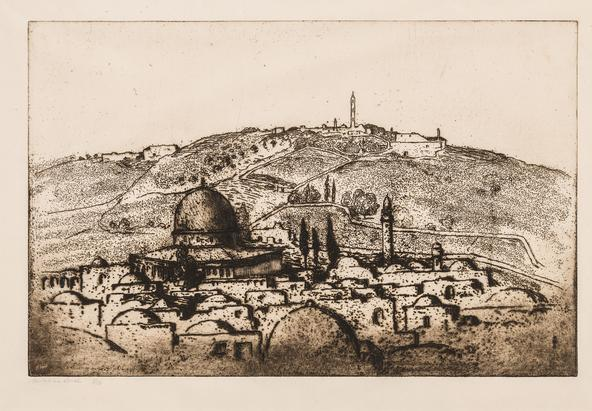 Hermann Struck  View of the Temple Mount and Mount Scopus, Jerusalem Etching 19.45 by 12.6 inches (49.4 by 32 cm) Framed: 28 3/4 x 22 1/2 inches Edition 5 of 50