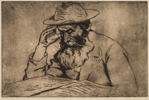 Hermann Struck  Talmudist, 1927 Etching 19.29 by 12.6 inches (49 by 32 cm) Framed: 27 3/4 x 21 1/2 inches Edition 17 of 50 (Inv# HS2733)