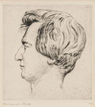 Hermann Struck  Portrait of Heinrich Heine, 1915 Etching 5.39 by 5.75 inches (13.7 by 14.6 cm) Framed:  27 1/4 x 17 3/4 inches Edition of 100 (Inv# HS1914.1)