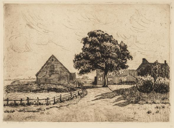 Hermann Struck  Sunny country road, 1911 Etching 14.49 by 10.24 inches (36.8 by 26 cm) Framed: 22 3/4 x 17 1/2 inches (Inv# HS2411)