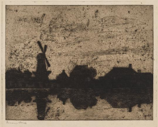 Hermann Struck  Evening on a Dutch canal Etching 12.28 by 9.57 inches (31.2 by 24.3 cm) Framed: 22 3/4 x 17 1/2 inches (Inv# HS2499)