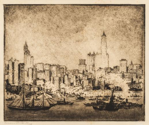 Hermann Struck  New York Skyscrapers from Brooklyn Etching 11.61 by 9.76 inches (29.5 by 24.8 cm) Framed: 22 3/4 x 17 1/2 inches Edition 54 of 150 (Inv# HS1863)