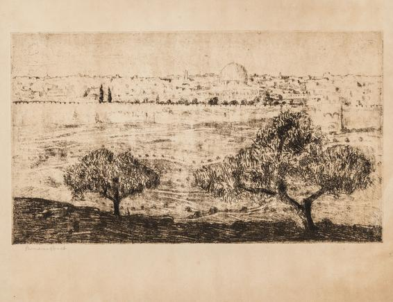 Hermann Struck  View of Jerusalem Etching 17.05 by 9.72 inches (43.3 by 24.7 cm) Framed: 22 x 18 inches (Inv# HS3426)