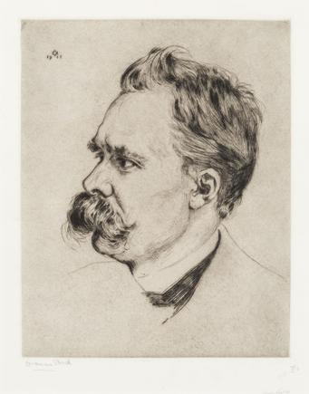 Hermann Struck  Portrait of Friedrich Nietzsche, 1911 Etching 9.49 by 11.89 inches (24.1 by 30.2 cm) Framed: 20 x 23 1/4 inches (Inv# HS2383.1)
