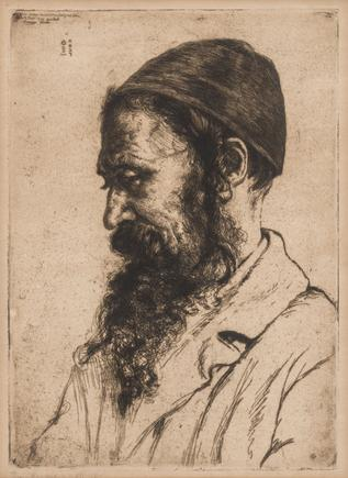 Hermann Struck  Portrait of a Polish Jew, c. 1906 etching 9.65 by 13.39 inches (24.5 by 34 cm) Framed: 18 1/4 x 22 1/2 inches Edition 97 of 150 (Inv# HS2379.2)