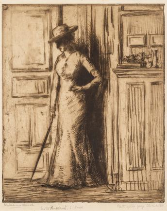 Hermann Struck  Woman holding parasol Etching 10.55 by 12.8 inches (26.8 by 32.5 cm) Framed: 19 x 22 inches (Inv# HS3091)
