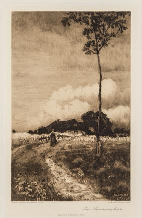 Hermann Struck  In Sunshine Etching 6.5 by 10.31 inches (16.5 by 26.2 cm) Framed: 17 1/2 x 22 3/4 inches