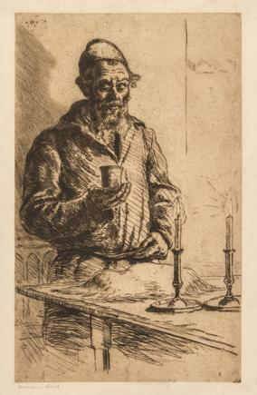 Hermann Struck  Kiddush Etching 9.25 by 14.92 inches (23.5 by 37.9 cm) Framed: 17 1/4 x 21 1/4 inches (Inv# HS3414)