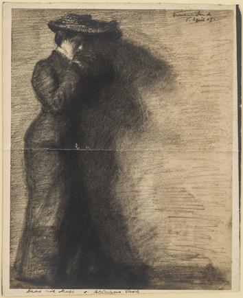 Hermann Struck  Lady with Muff, 1905 Etching 9.37 by 11.81 inches (23.8 by 30 cm) Framed: 17 x 19 1/4 inches (Inv# HS2571.1)