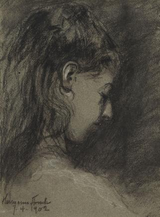 Hermann Struck  Portrait of a young woman, 1902 Charcoal 7.87 by 10.51 inches (20 by 26.7 cm) Framed: 15 x 18 inches (Inv# HS3162)