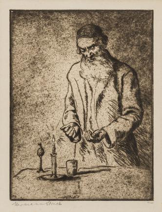 Hermann Struck  Havdalah Etching 6.97 by 9.25 inches (17.7 by 23.5 cm) Framed: 15 x 17 1/2 inches Edition 27 of 100