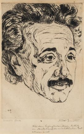 Hermann Struck  Portrait of Albert Einstein, c. 1918 Etching 5.51 by 7.87 inches (14 by 20 cm) Framed: 15 1/4 x 17 1/2 inches (Inv# HS3084.1)