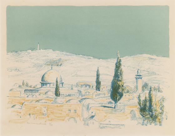 Hermann Struck Jerusalem X Lithograph in colors 12.6 by 9.65 inches (32 by 24.5 cm) Framed: 19 x 16 inches Edition 10 of 75 (Inv# HS435.1)