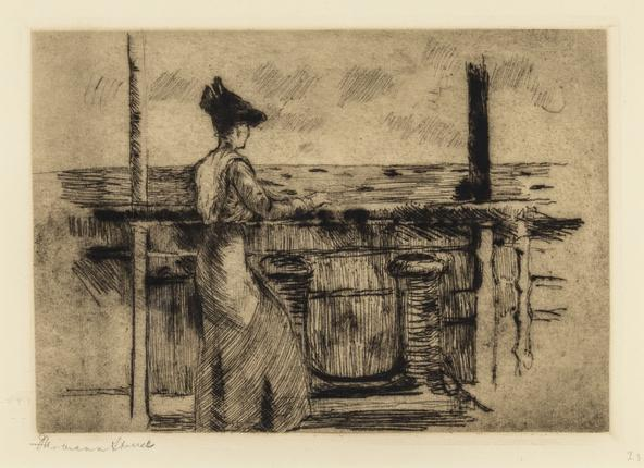 Hermann Struck  America, On the Ride Over, 1912 Etching 7.76 by 5.39 inches (19.7 by 13.7 cm) Framed: 17 1/2 x 15 inches (Inv# HS1828.1)