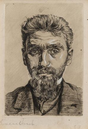 Hermann Struck  Self Portrait, c. 1901 Etching 5.98 by 8.54 inches (15.2 by 21.7 cm) Framed: 15 1/4 x 17 3/4 inches (Inv# HS3097)
