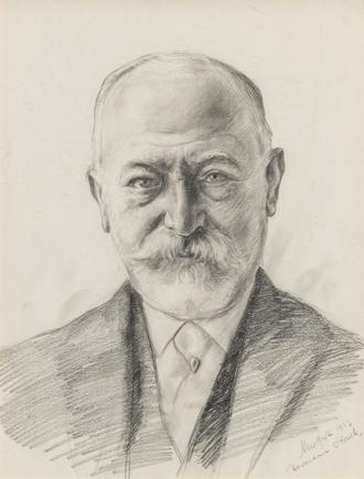 Hermann Struck  Portrait of Jacob Schiff, N.Y. 1913 Graphite on paper 10.04 by 12.91 inches (25.5 by 32.8 cm) Framed: 15 x 18 inches (Inv# HS3101)