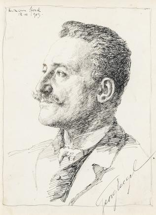 Hermann Struck  Portrait of Georg Engel, 1903 Ink on paper 6.77 by 9.06 inches (17.2 by 23 cm) Framed: 15 1/4 x 17 3/4 inches (Inv# HS3094)