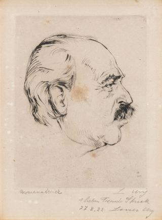 Hermann Struck  Portrait of Lesser Uri Etching 5.12 by 6.61 inches (13 by 16.8 cm) Framed: 15 1/4 x 17 3/4 inches (Inv# HS3098)