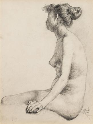 Hermann Struck  Nude woman, hair in bun, 1899 Ink on paper 8.39 by 10.91 inches (21.3 by 27.7 cm) Framed: 14 1/4 x 16 3/4 inches lower right (Inv# HS3005)