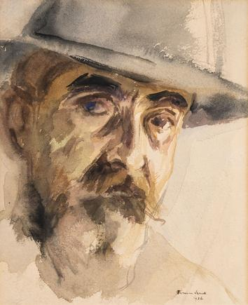 Hermann Struck  Self Portrait, 1926 Watercolor on paper 8.9 by 10.91 inches (22.6 by 27.7 cm) Framed: 14 1/4 x 16 inches