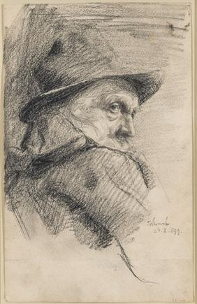 Hermann Struck  Man with brimmed hat, 1899 Graphite on paper 5.31 by 8.46 inches (13.5 by 21.5 cm) Framed: 15 x 18 inches (Inv# HS3102)