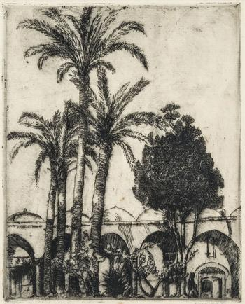 Hermann Struck  Acre, The Mosque's Courtyard, c. 1940 Etching 7.76 by 9.65 inches (19.7 by 24.5 cm) Framed: 13 1/4 x 15 1/4 inches (Inv# HS2018.1)