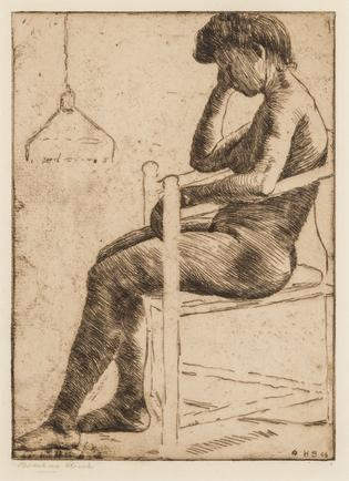 Hermann Struck  Seated Nude, 1906 Etching 5.91 by 8.19 inches (15 by 20.8 cm) Framed: 12 1/2 x 16 inches (Inv# HS3142)