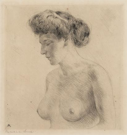 Hermann Struck  Half nude, 1909 Etching 7.05 by 7.32 inches (17.9 by 18.6 cm) Framed: 14 x 17 inches (Inv# HS3090)