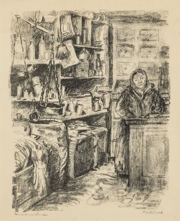 Hermann Struck  Shopkeeper in Grodno Lithograph 7.76 by 9.49 inches (19.7 by 24.1 cm) Framed: 13 3/4 x 17 3/4 inches 27.6 x 21.5 cm (Inv# HS1186)