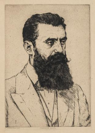 Hermann Struck  Theodor Herzl, 1915 Etching 6.69 by 9.65 inches (17 by 24.5 cm) Framed: 13 3/4 x 17 3/4 inches (Inv# HS2624)