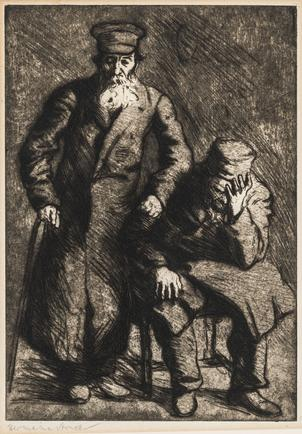 Hermann Struck Two figures, New York Etching 8.66 by 12.36 inches (22 by 31.4 cm) Framed: 13 3/4 x 17 3/4 inches (Inv# HS3402)