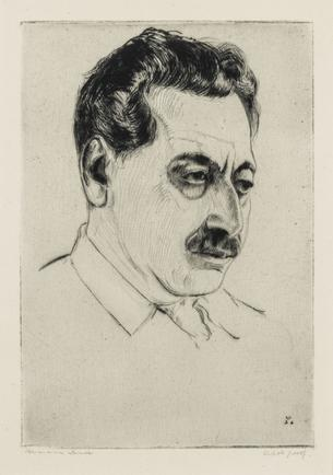 Hermann Struck  Portrait of Sholem Asch, 1936 Etching 5.71 by 8.07 inches (14.5 by 20.5 cm) Framed: 13 3/4 x 17 3/4 inches Edition AP of 30 (Inv# HS2065)
