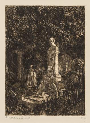 Hermann Struck  Grave of Heinrich Heine, Paris, 1906 Etching 5.83 by 8.03 inches (14.8 by 20.4 cm) Framed: 13 3/4 x 17 3/4 inches Edition 37 of 150 (Inv# HS2497.1)