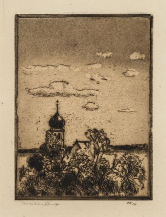 Hermann Struck Church on Ammersee Etching 4.45 by 5.91 inches (11.3 by 15 cm) Framed: 13 3/4 x 17 3/4 inches Edition 10 of 100 (Inv# HS2218)