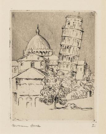 Hermann Struck  Pisa Etching 3.54 by 4.72 inches (9 by 12 cm) Framed: 13 3/4 x 17 3/4 inches (Inv# HS2712)