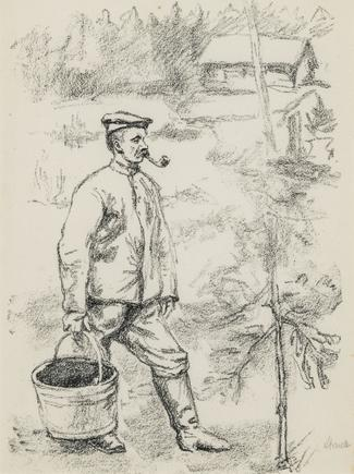 Hermann Struck  WWI, man in cap carrying large pail Lithograph 5.71 by 7.64 inches (14.5 by 19.4 cm) Framed: 13 3/4 x 17 3/4 inches (Inv# HS1198)