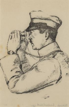 Hermann Struck  Watching Officer Lithograph 4.96 by 7.72 inches (12.6 by 19.6 cm) Framed: 13 3/4 x 17 3/4 inches (Inv# HS1457)