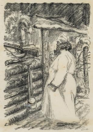 Hermann Struck  WWI, soldier in trench Lithograph 5.79 by 8.11 inches (14.7 by 20.6 cm) Framed: 13 3/4 x 17 3/4 inches (Inv# HS1192)