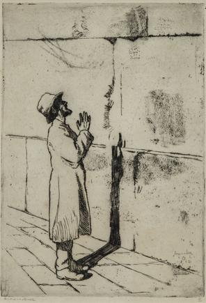 Hermann Struck  Man at wailing wall, 1932 Etching 5.71 by 8.19 inches (14.5 by 20.8 cm) Framed: 13 3/4 x 17 3/4 inches (Inv# HS2281)