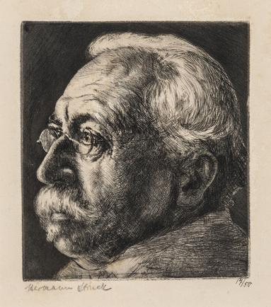 Hermann Struck  Portrait of Professor Hermann Cohen - Marburg, 1903 Etching 4.65 by 5.12 inches (11.8 by 13 cm) Framed: 13 3/4 x 17 3/4 inches Edition 17 of 50 (Inv# HS2842)