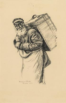 Hermann Struck  Man carrying trunk on back, 1916 Lithograph 6.3 by 9.84 inches (16 by 25 cm) Framed: 13 3/4 x 17 3/4 inches (Inv# HS1157)