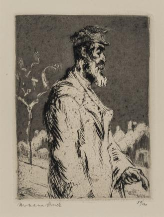 Hermann Struck  Wandering Jew  Etching 4.13 by 5.71 inches (10.5 by 14.5 cm) Framed: 13 3/4 x 17 3/4 inches Edition 57 of 100 (Inv# HS1569)