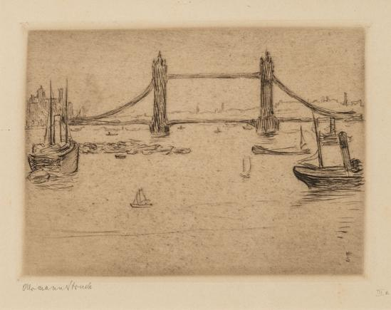Hermann Struck  London, Tower Bridge Etching 5.59 by 4.02 inches (14.2 by 10.2 cm) Framed: 17 3/4 x 13 3/4 inches Edition of 100 (Inv# HS1322)